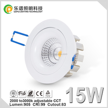 CE & ROHS approved color adjustabel 15w cob led downlight 2000k to 3000k dimmable 5 years warranty