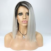 8A Grade 100% Virgin Brazilian Short Cut Wigs ombre grey Human Hair Bob Wigs