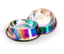 High Quality Rainbow PVD Coating Stainless Steel Dog Bowl