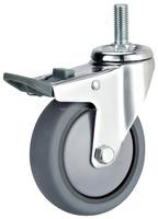 Thread stem TPR furniture caster wheel with total brake