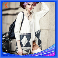 Winter Women Knitted Sweater With Tassels, European Style Cardigan High End Mexican Sweater For Girl