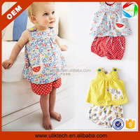Cheap children boutique summer 2015 kids clothes with printing (Ulik-A0092)