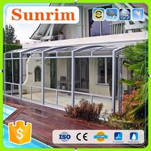 Prefab Retractable prefabricate glass green sun house used sunroom