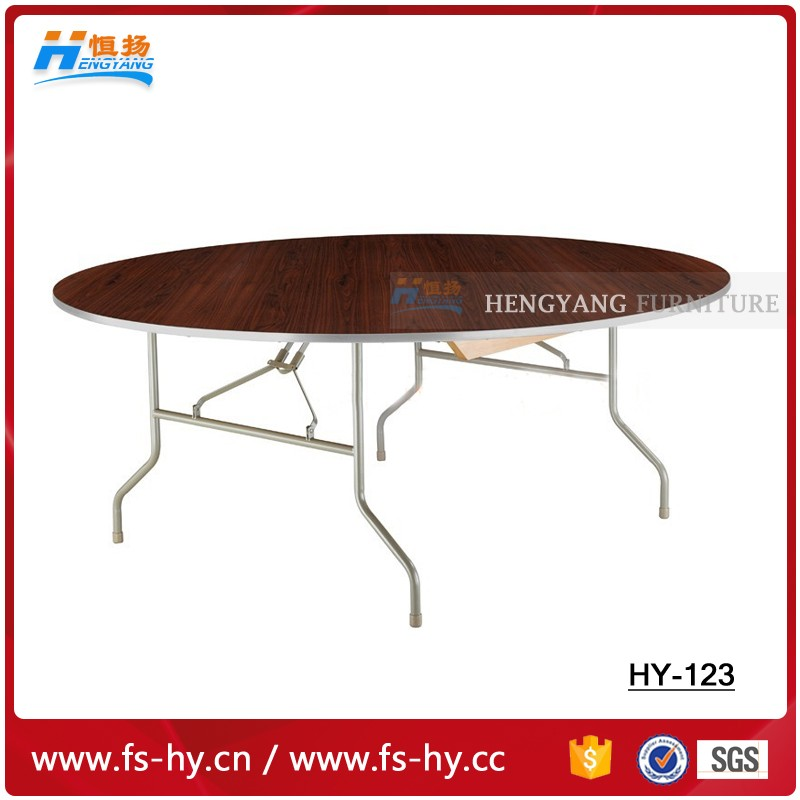 HY-123 wood dining table banquet round table folding round table