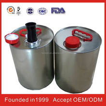 china round petrol tin can with chemical round tin
