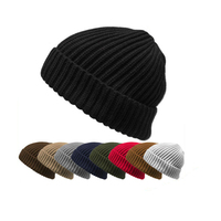 THICK Ribbed Beanie Knit Ski Cap Skull Hat Warm Solid Color Winter Cuff Blank hat