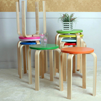 assembled colorful round stool simple cutty stool wooden bench