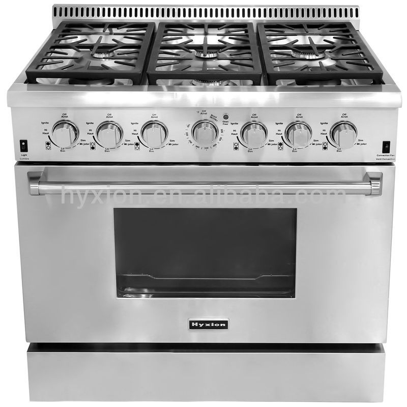 36 inch 6 burner gas stove kitchen range with grill and oven