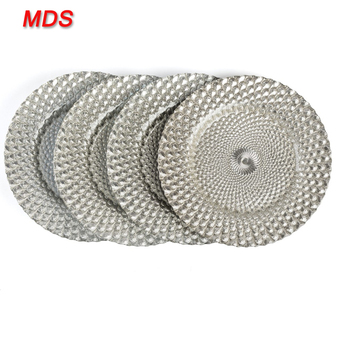 Round cheap silver rhinestones glass charger plates