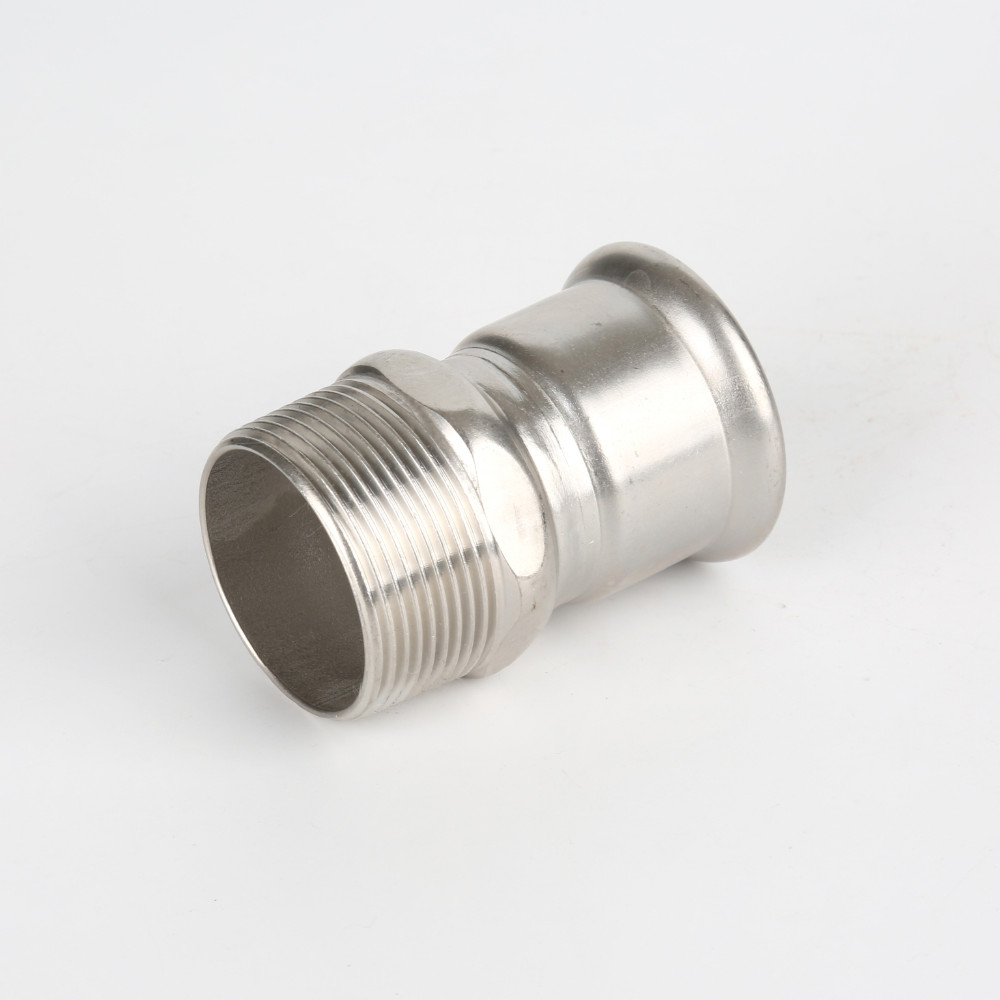 Adapter with male threaded end stainless steel pipe