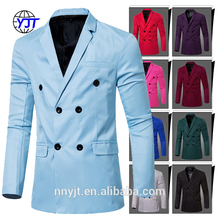 Plain Leisure Jacket Blazer Men Double Breasted Suits 9 Colors Available