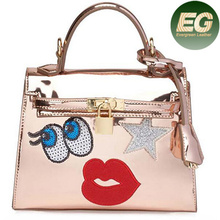 2017 Bag women trend ladies tote bag pu bling design handbags SY7099