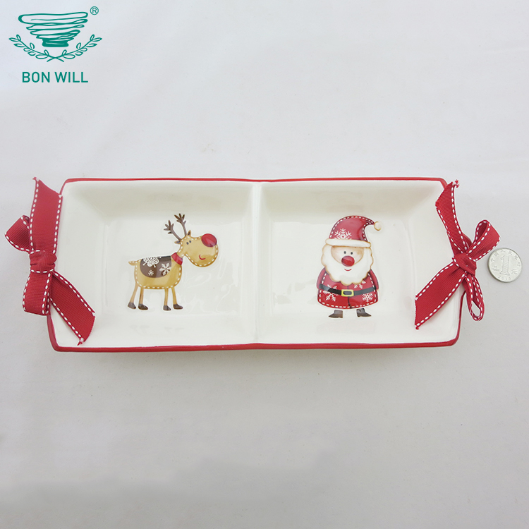 Food grade rectangle ceramic dinner divided plate for restaurant