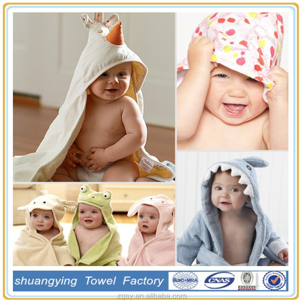 Cute Animal Embroidery Pattern 100% Cotton Soft Baby Hooded Towel