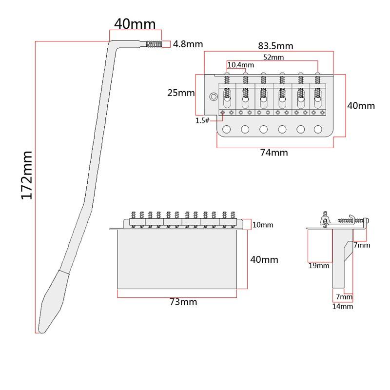 full set chrome color electric guitar single shake violin bridge  tremolo system   tailpiece