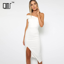 Designer one shoulder midi dress 2018 fashion women clothing