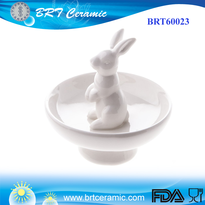 Bunny Ring Ceramic Easter Rabbit Jewelry Holder