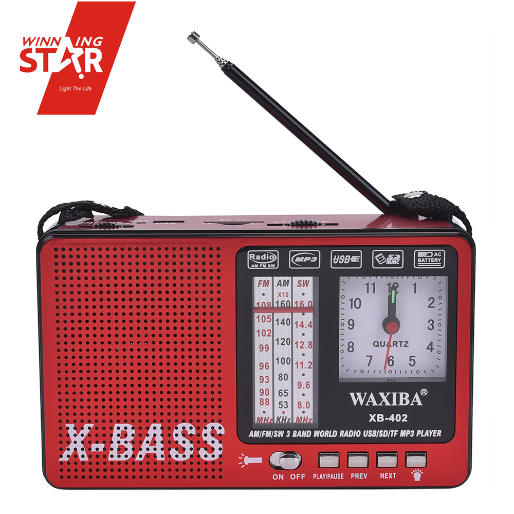 FM AM SW Band Mini Radio Plastic Alarm Clock Am X-bass Radio Mp3 SD Portable Radio Receiver
