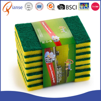 OEM factory price non-abrasive rolls nylon green novelty sponge scouring pad for kitchen cleaning