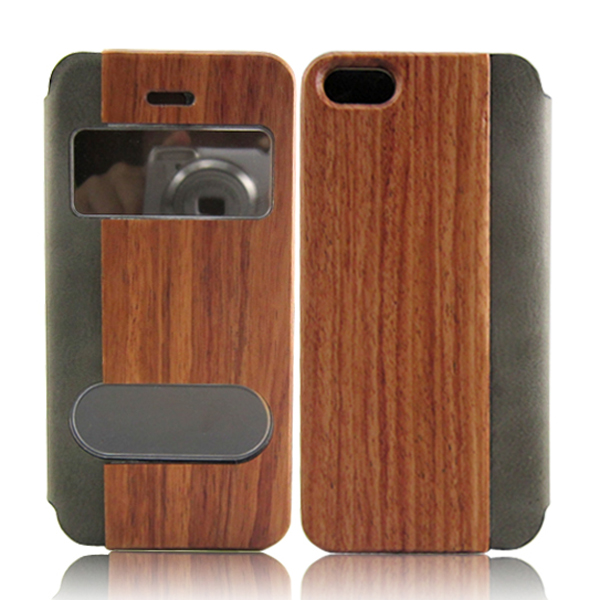 Rounded wood leather case mobile phone shell protective hard case for iPhone 5