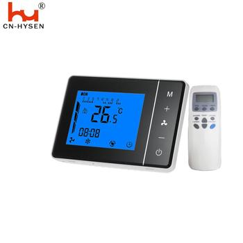 Remote control room thermostat for fan coil
