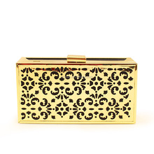 Women hollow design hard case clutch bag made in China