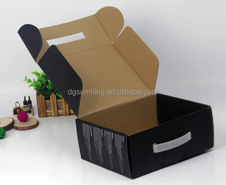 cardboard carrying box with handle 100% recycled paper box with handles
