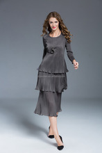 Polyester Crepe Layered Frilly Women pleated Dresses