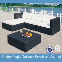 Space saving corner sofa outdoor furniture with poly rattan weaving