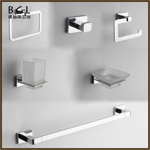 No.17600 Popular Unique Design Zinc Alloy Chrome Finishing Wall Mounted Bathroom Accessories Modern Set