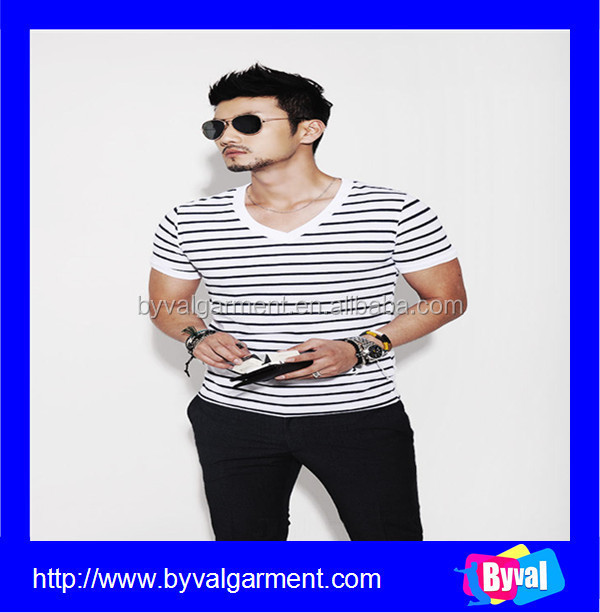 2016 Hot Sale 100% Cotton Fashion Korea Men's Stripe t shirt With V Neck