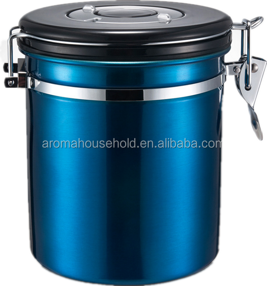 colorful stainless steel coffee airtigh canister with date
