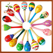 China Wholesale Cartoon Wooden Sandball Rings The Bell Sledge Large Sand Hammer Toys Baby Shaking Toy