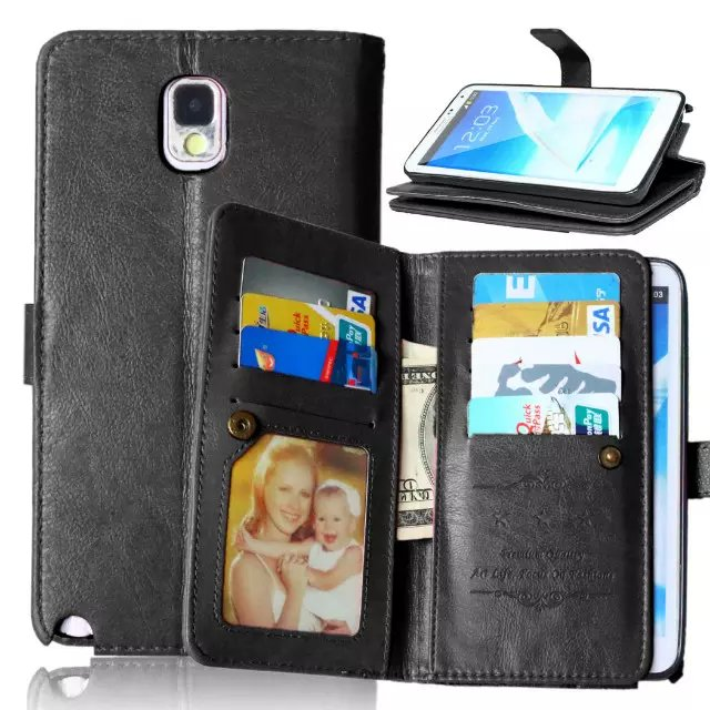 For Samsung Galaxy Note 3 Flip PU Leather Wallet Case with 9 Cards Slots Stand for Samsung Galaxy Note 3 Cover case
