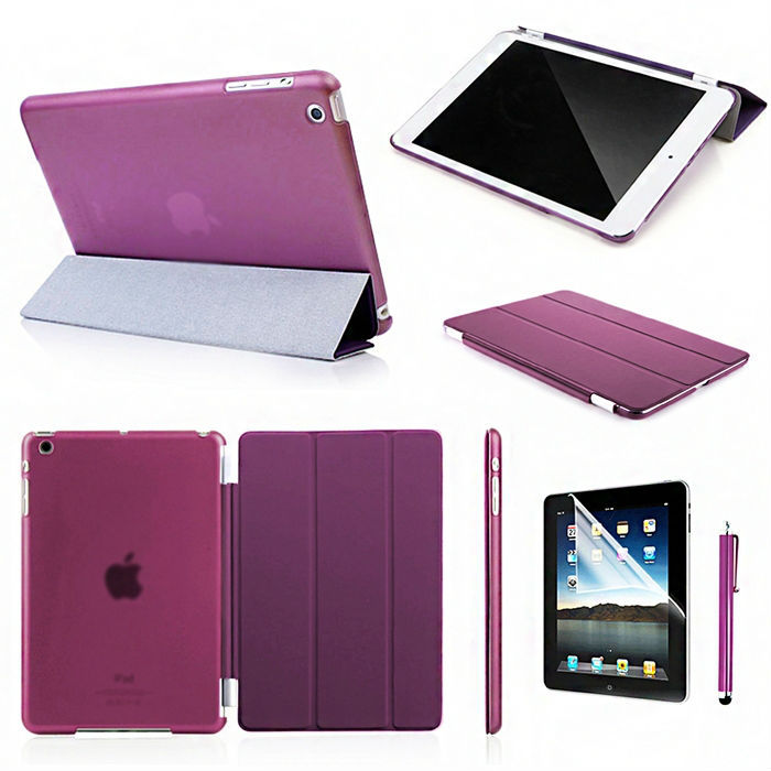 Slim Magnetic Smart Cover Leather Case for Apple iPad mini 1/2 withR etina Display Pen + ( Free Screen Protector )