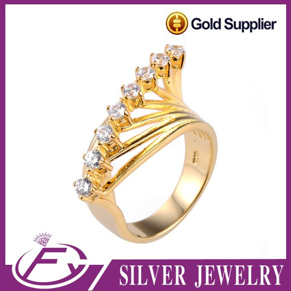Dubai 925 sterling silver quality cz stone plated pure 24k gold jewelry