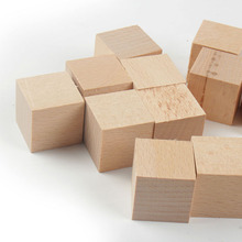 Unfinished Wooden Cubes DIY Crafts Natural Material Raw Blocks