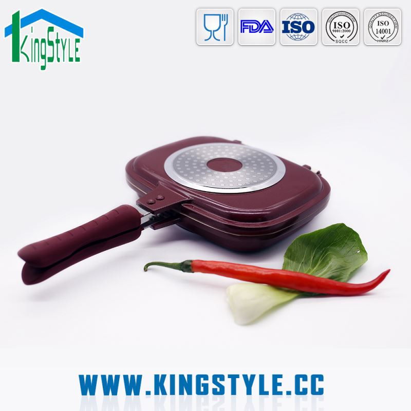 Bakelite handle die-casting aluminum ceramic double side frying pan, double sided divided frying pan