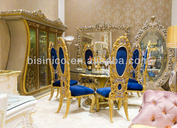 Luxury home dining table set,european classical dining table and chair,wooden hand carving(B51006)