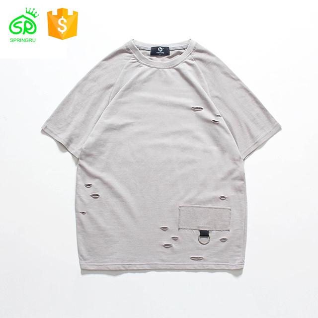 Men Outdoor Summer Popular Damaged T Shirt Wholesale