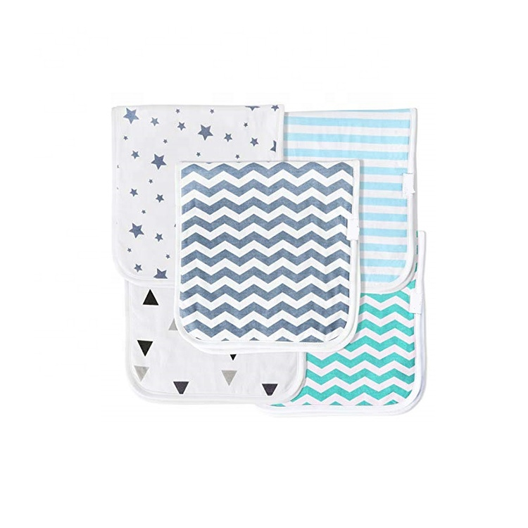 "Baby Burp Cloths for Boys 5 Pack, Organic Cotton, Large 21""<strong>x10</strong>"", Triple Layer Flannel Designer Burp Cloth Bibs Baby Shower <strong>Gift</strong>"
