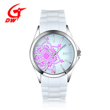 Fashion Luminous Silicone Stainless Steel Ladies Bracelet Quartz Watches With Waterproof