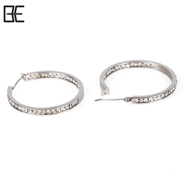 BE Alibaba Fashion Jewelry Women Wedding Crystal Accessories Titanium Silver Earrings Wholesale