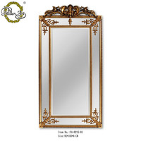 Room decoration large wood frame standing wall mirror