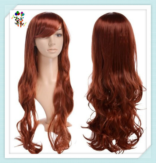 Ladies Long Wave Brown Fashion Cosplay Synthetic Wigs HPC-1921