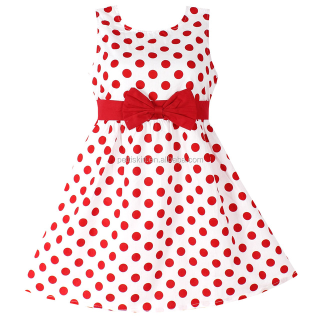 Girls baby dresses red polka dot pure cotton party birthday kids toddler dress clothing wedding lacha photos