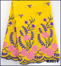 ML8022-8 Yellow Women Dresses Embroidered 100% Cotton Guinea Brocade Bazin Riche African Fabric