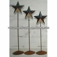 Country primitive craft metal barn star with stand American flag style barn star pedestals