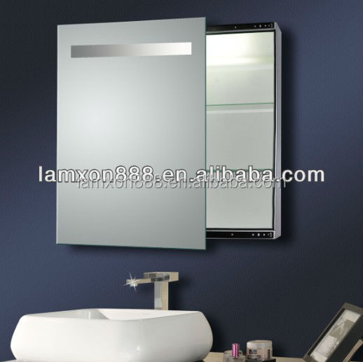 Electric bathroom mirror cabinet with light sliding mirror cabinet with led illuminated buy for Bathroom cabinet mirrors with lights