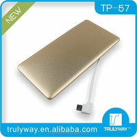 TP57A single USB Ultra-thin mobile power bank 3200mAh with built-in micro cable